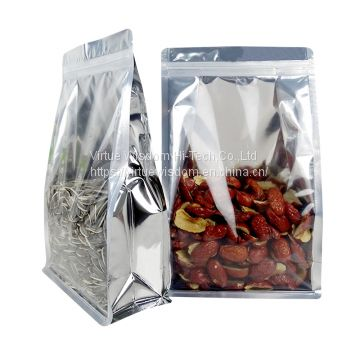 custom printed aluminum foil silver square flat bottom pouch with zipper for red dates packaging bags