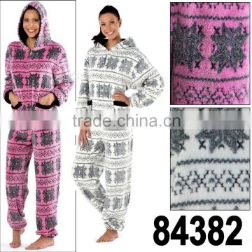 Ladies Maya Nordic Fairisle Hooded Onesie Fleece Pyjama Sleepsuit