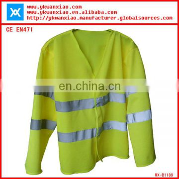 high visibility fluorescent long sleeves reflective clothes,safety jackets