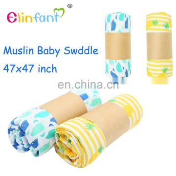 Elinfant Newborn Baby Large 47 x 47 inch 100% cotton muslin baby blankets