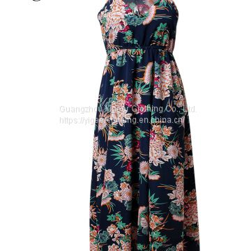 Sleeveless Floral Printed V-neck Long Maxi Dress