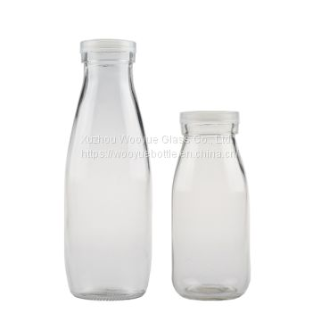 Round Clear Glass Milk Bottle,500ml milk glass bottle