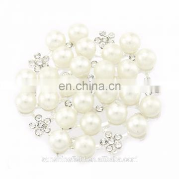 New Fashionable Alloy Rhinestone Button with pearl for Accessories clear with silver plating