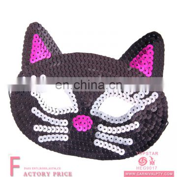 kids medical face mask Halloween Black Cat Sequin Mask