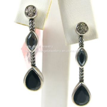 David Yurman Sterling Silver Black Onyx Confetti Drop Earrings