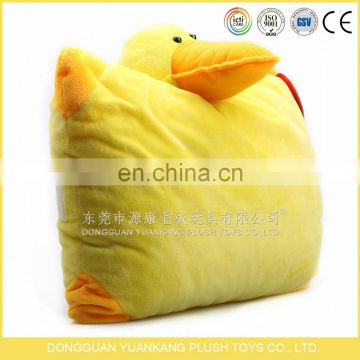 Yellow duck feather animal foldable blanket pillow