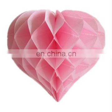 Set of 3 Pink Tissue Paper Heart Honeycomb Ball Paper Garland Paper Pom Pom