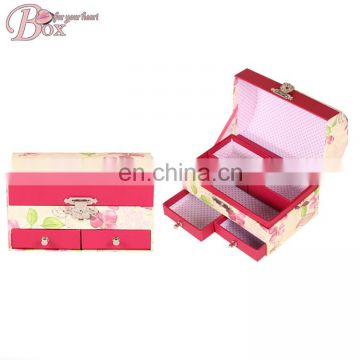 Popular Double Layer Cardboard Jewelry Box with Drawer
