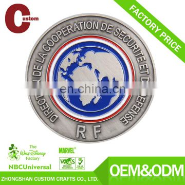 Fashion cheap painting silver military navy blank custom challenge coin