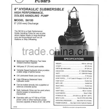 "6"" Hydraulic Submersible high performance, solid handling pump"
