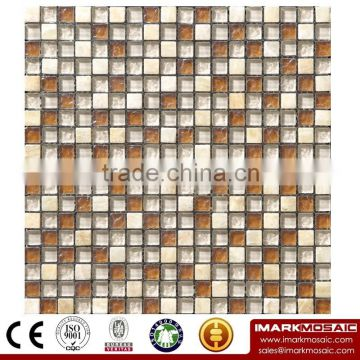 IMARK Mixed Color Marble Mosaic Tiles with Electroplated Coated Glass Mosaic Tiles(IXGM8-037)
