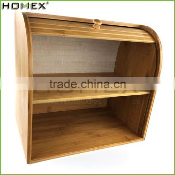 Bamboo bread display cabinet/ double bread box Homex-BSCI