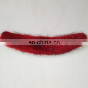 Red color big genuine raccoon fur shawl collar neck warmer for winter