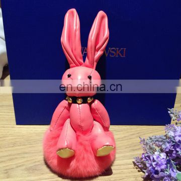 cute leather rabbit keychain with pom pom