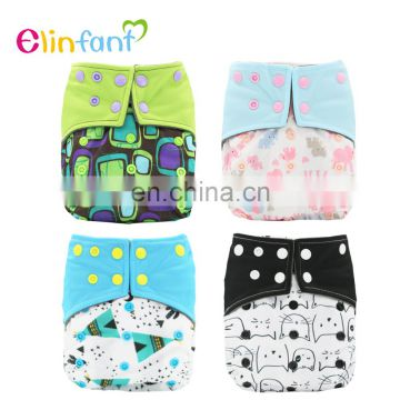 Elinfant Charcoal Bamboo Baby Cloth Diaper Washable Double Gussets AIO Night Heavy Wetter Nappy