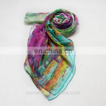 2017 digital printing 100% silk scarf shawl scarf factory