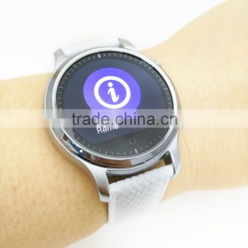 Leather band Round Smart watch for iOS and Android