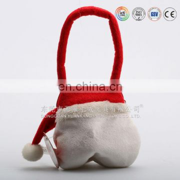 Toys supplier supply red 3D Santa Claus plush candy bag