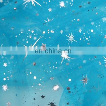 2015 New China Products For Sale White Snowflake Printed Gilding Organza