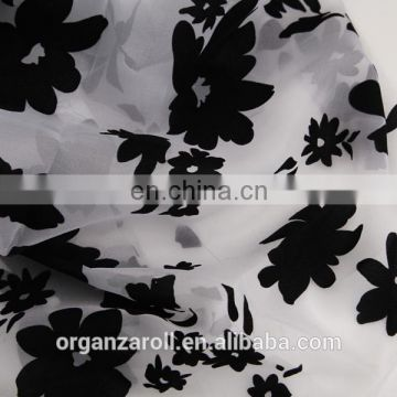 flower flocking organza fabric for table runner