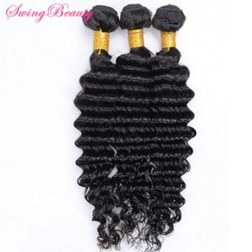 Natural Remy Human Hair Weaving Bundles Deep Curly Hair Extensions