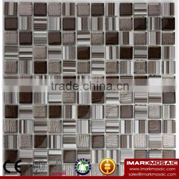 IMARK Wood Texture Brown Color Mix Painting Crystal Glass Mosaic Tile For Kitchen/Bathroom Wall Decoration
