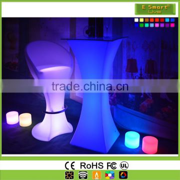 Fashionable Look Nightclub Graceful LED Glowing Bar Round Cocktail Table