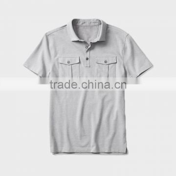 China alibaba wholesale pure color pocket short sleeve polo shirt for men