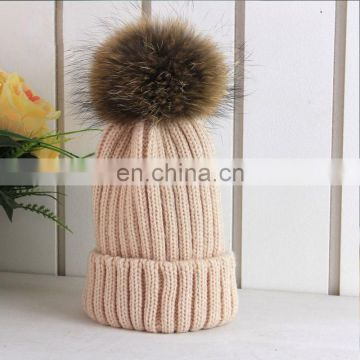 Classic fashion style big natural color raccoon fur pom pom ball hats