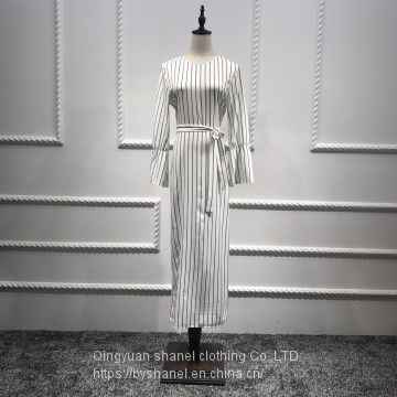 White Color Stripe Horn Sleeve Muslim Dress