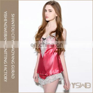 Wholesale cotton material stylish beautiful ladies red lace sexy night suit