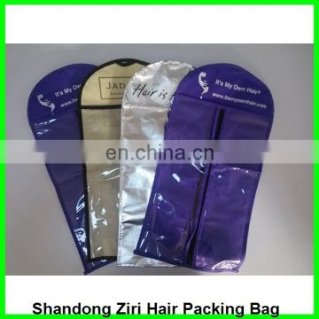 plastic hair bag/hair packing bag/hanging hair extension pack bag