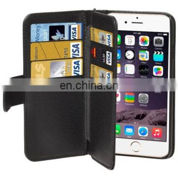 New Design Wallet Style Six Card Slots PU Leather Case with Lanyard for iPhone 6