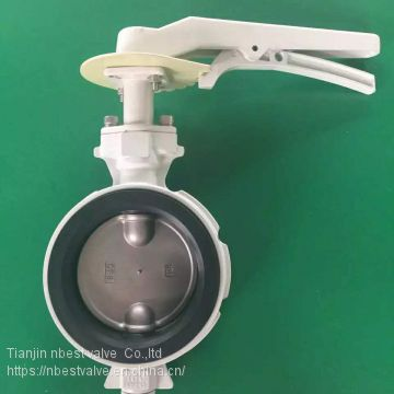 Aluminum Alloy Anti-condensatio wafer butterfly valve with lock lever DN100