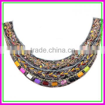 Garment accessories metal trims,Cheap OEM/ODM Colorful Beads Handmade Sew on Bohemia Net Cloth False Collar