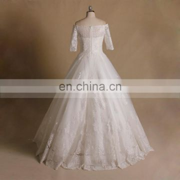 Princess Off Shoulder Applique Lace & Beads 1/2 Sleeve Wedding Party Dress
