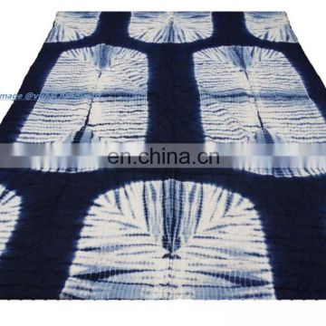 Indian Hand Quilted Shibori Indigo Blue Natural Sanganeri Dyed Blanket Throw Indian Handmade