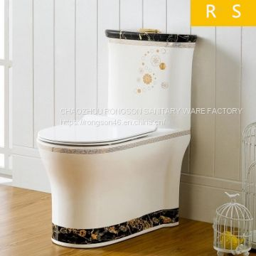 Bathroom ceramics golden new design luxury modern sanitary ware wc top dual flush economic one piece toilet bowl