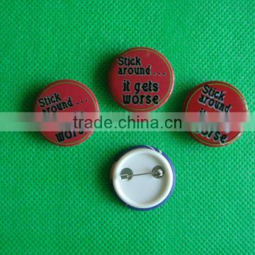 Button badge with safety pin