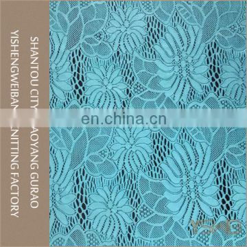 Beautiful flower design knitted stretch turquoise blue lace fabric