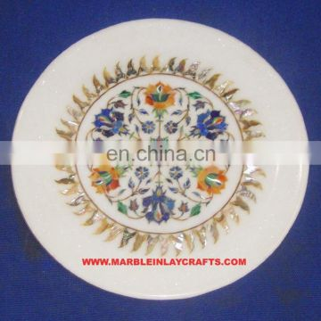 Antique Marble Inlay Plate Pietra Dura Marble Inlay Plate