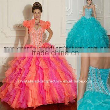 2012 short sleeve beaded bust ruffled organza custom-made ball gown with jacket CWFab3549