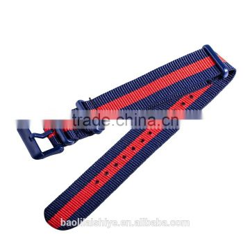Blue/Red striped cheap nylon nato watch straps 16mm 18mm 20mm 22mm 24mm 26mm manufacturer