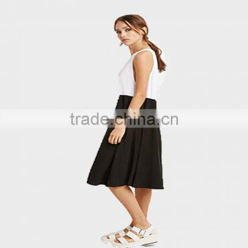 Ladies dresses sleeveless 100%cotton dresses