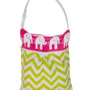 full printed diaper bag with leather handles for selling