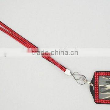 Yiwu Supplier Promotional gift Rhinestone Lanyard vertical Lined ID badge holder and key chain