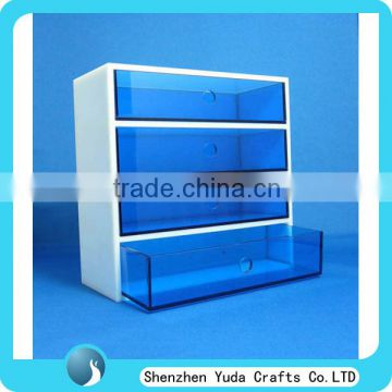 Home Decoration Blue Acrylic Storage Organizer Box, Plexiglass Acrylic Material 4 Drawer Box