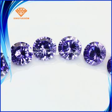Factory wholesale cubic zirconia 2A 3A 5A , round shape amethyst color cubic zirconia stone, customized make welcome