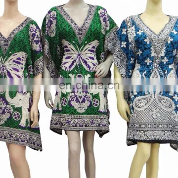 caftan Night wear polyester maxi poncho Elephant design Women Short Kaftan Hippie Boho Dress Kimono Satiny Silky Look Plus Size