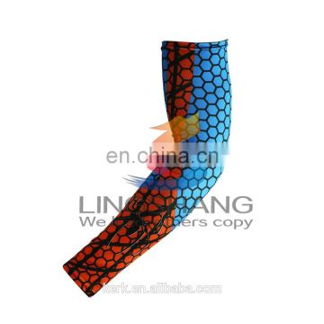 2016 Hot wholesale New design Color printing elastic UV protection quick drying breathable 100%Polyester sports wear arm sleeves